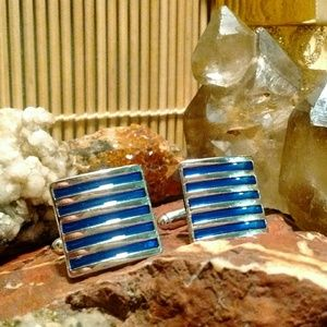 Gentleman's blue & silver cuff links